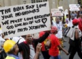 File Photo, A group protesting against xenophobic attacks in South Africa