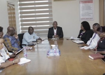 Mr Ato Afful (head of table), MD, GCGL, addressing the GTA delegation when it paid a courtesy call on him at the GCGL Head Office in Accra.