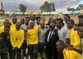 President Akufo-Addo with the Black Stars in Egypt before the tournament started