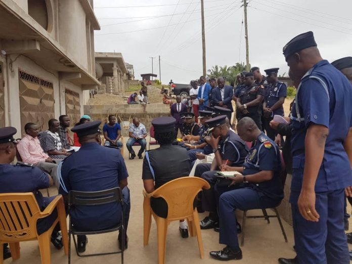 The Acting IGP and some police officials during the visit to the families of the four girls today