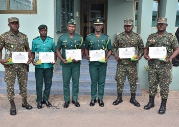 The six honored officers in a group picture