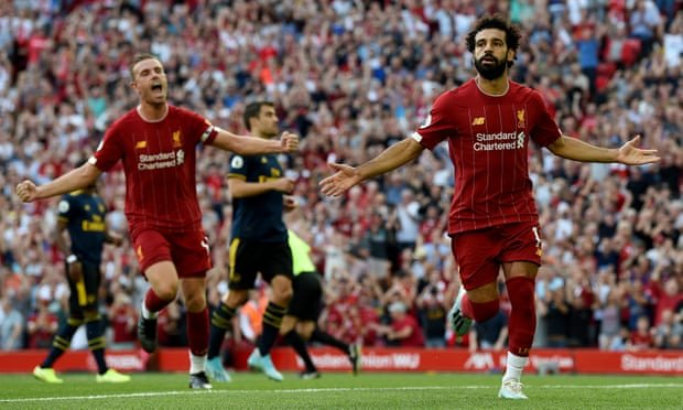 Mohamed Salah celebrates after scoring. Photograph: John Powell/Liverpool FC via Getty Images