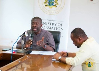Kojo Oppong-Nkrumah (Information Minister) and Pius Hadzide (Deputy Information Minster)