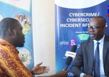 Dr Albert Antwi-Boasiako (r) National Cybersecurity Advisor during the interview with ABC News