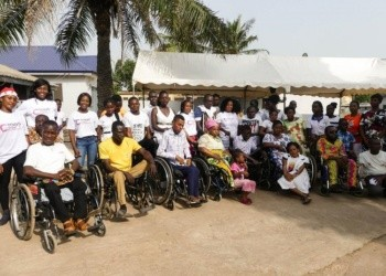 Some patrons of the Kaneshie Disability Home and volunteers of the Christy Hope Foundation