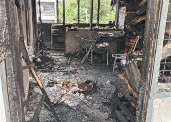 One of the rooms and all of its content badly burnt by the fire. Photo credit: myjoyonline.com