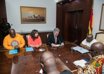 President Akufo-Addo with some representatives of the German Government at the Jubilee House