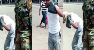 A screenshot from one of the viral videos where a military man commanded a civilian to hold his ear whiles doing squats